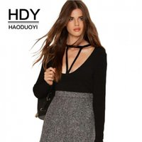 HDY Haoduoyi Low Cut Hals Gestrickte Top Fashion Langarm T-shirt Slim Fit Für Frauen Herbst Shirts Schwarz Bodycon T Tops q1109