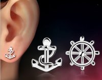 Wholesale Ship Anchor Silver Jewelry - 2015 New Fashion 925 Sterling Silver Vintage Anchor Rudder Wheel Ship Earrings for Women Fine Jewelry Earrings