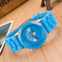 Wholesale Geneva Style Watch - 2016 Hot Geneva Watches style Clover students silicone watch Geneva watches Quartz pointer noctilucence 13color mixs