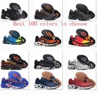 Wholesale Chocolate Footwear - Hot Sale 100 Colors Wholesale High Quality TN Men's Women Mans Pink Black White Footwear Sneakers Trainers Shoes size 7-12us 40-46eur