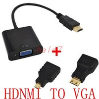 Wholesale Xbox Hdmi Vga Cable - New HDMI to VGA Adaptor Micro HDMI Mini HDMI Male Adapter to VGA Female Built-in 1080p Chipset Converter For Xbox 360 PS3 PS4