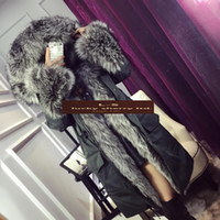 Wholesale Goose Parka Women - Hot New 2color Fox fur collar fur coat in the long section of white goose down winter jacket brand women parka Solid Hooded