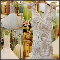 Wholesale Newest Luxurious Wedding Dress - Newest Luxurious V-Neck Mermaid Wedding Dress Wedding Gown Handmade Beads Rhinestone Crystal Backless Bridal Gowns Wedding Dresses For Women