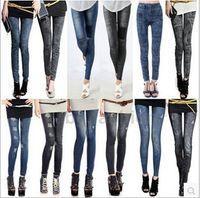 Wholesale New Clothes For Cheap - DHL Free Leggings for Women Leggings Jeans Cheap Ripped Denim Spandex Graffiti Printed Legging New Women Leggings clothes