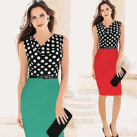 Wholesale Dreess Woman - Free shipping The Summer Fashion Women Working dreess Sleeveless Dot decorate dress Large size XXL.