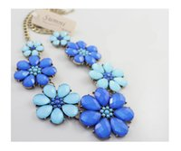 Wholesale Sumni Necklace - 2015 European and American fashion SUMNI ocean winds blue flowers short necklace bracelet earrings Parure