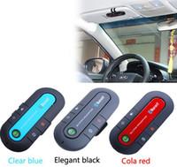 bluetooth telefon kitleri toptan satış-Yeni Çift Telefonlar Bağlayan Evrensel Eller için ücretsiz Bluetooth Araç Kiti Kulaklık Bluetooth Hoparlör iphone, araba Tüm Akıllı telefonlar