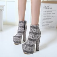 Wholesale Ladies Party Wear Shoes - New 2018 16cm Ultra High Heels Platform Ankle Boots Women Winter Shoes Printed Boots Sexy Lady Party Club Wear Size 34 to 40