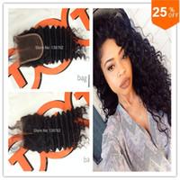 hızlı nakliye boyası toptan satış-Büyüleyici Saç Ürünleri 8A derin dalga kapatma Malezya bakire saç boyalı olabilir hızlı ücretsiz kargo dantel kapatma ağartılmış knot