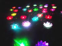 ingrosso luce di loto di seta-Diametro 19 centimetri colorato cambiando LED Lotus lampada galleggiante acqua che desiderano lanterna artificiale luci di candela fiore di seta spedizione gratuita
