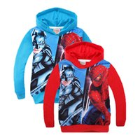 Wholesale Batman Sweatshirt Boys - Retail Spiderman Batman Children Hoodie 2016 Autumn Cartoon Kids Winter Clothes Long Sleeve Girls Boys Hooded Sweatshirt Outwear 201511HX
