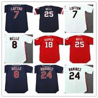 Wholesale Red Belle - Vintage Cleveland 1993 Throwback Jerseys Baseball 8 ALBERT BELLE 7 KENNY LOFTON 24 MANNY RAMIREZ 9 CARLOS BAERGA 18 DUANE KUIPER 25 BELL