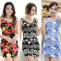 Wholesale Wholesale Clothing Printing China - 2016 New fashion Women Casual Dress free Size Cheap China Dress 19 Designs Women Clothing Fashion Sleeveless Summe Dress Free Shipping