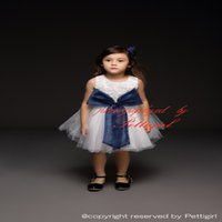 Wholesale Cheap Wholesale Summer Kids Clothes - Pettigirl New Fashion Girls Party Dresses Rosed Bodice With Navy Big Bow Tulle Dress Girls Party Wear Kids Clothes Wholesale Cheap GD40514-4