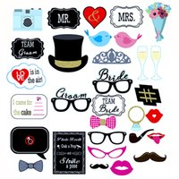 31pcs Divertente Decorazione di cerimonia nuziale Photo Booth Puntelli fai da te Mr Mrs Photobooth Accessori per feste Natale Bridal Shower Event Supplies