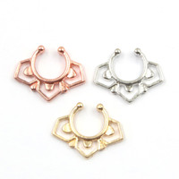 Wholesale Nose Jewellery - 10pcs Gold Silver rose gold Fake Nose Ring fake septum rings Piercing body jewellery Hoop rings For Women N0059
