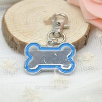 Wholesale Cheap Pet Id Tags - 6 Color Cheap Small Cute Bone Shaped Stainless Steel Metal Pet Dog Cat ID Tag-Medium Name Tags FMHM470#Y6