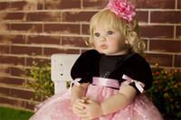 statue de maison achat en gros de-60 cm haut de gamme vinyle silicone Réincarné Baby Doll Jouet Nouveau-né fille bébé Princesse Doll anniversaire cadeau de vacances Bedtime Play House Toy Accessoires