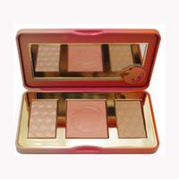 como kits al por mayor-Paleta de maquillaje Sweet Peach GLOW 3 Color Blush Powder Blusher Marcas Sombra de ojos Cosmética facial Cosméticos Kits Olor como duraznos compras gratis