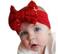 ingrosso migliori archi per bambini-Best Deal 2015 Fashion Elastico Bambini Neonate Fascia Carino Paillettes Bow Baby Girl Accessori per capelli Per Baby Gift 10pz