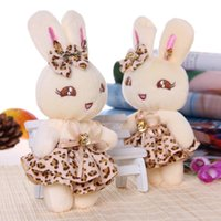 Wholesale Wholesale Teddy Bears 16 - Promotional gift plush toys doll rabbit with ribbon bow for birthday wedding gift key chain 16 cm 12pcs