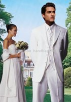 Wholesale Mens Three Button Suits - High Quality Three Buttons White Groom Tuxedos Notch Lapel Best Man Groomsmen Mens Wedding Suits (Jacket+Pants+Vest+Tie) AA419