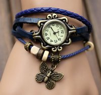 Wholesale Ks Leather - 2016 Unisex Hot Sale Europe And The United States Are Authentic Korean Student Table Retro Women Fashion Bracelet Watch Butterflies Mori Gir