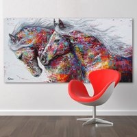 Wholesale Two Panel Canvas Paintings - Animal Wall Art Pictures For Living Room Home Decor Canvas Painting The Two Running Horse No Frame
