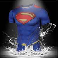 Wholesale Shirt 3d Drying - Summer style Compressed 3d t shirt superman batman tshirt men sports quick dry fitness clothing Captain America camisa masculina