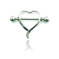 aço inoxidável de barraca 316l piercing venda por atacado-Brand New Moda Mamilo Anéis Aço Inoxidável 316L Barbells Coração Breast Body Piercing Jóias Frete Grátis