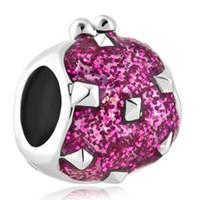 бисер кошелек оптовых-Родиевое покрытие блеск розовый цвет эмали мешок для монет шарик Европейский леди Кошелек кошелек Шарм Fit Pandora браслет
