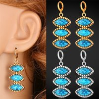 Wholesale Turkish Bohemian - Turkish Jewelry Turquoise Drop Earrings 18K Real Gold Platinum Plated New Fashion Ethnic Summer Style MGC E1116