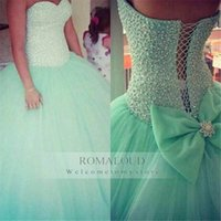 Wholesale Quinceanera Dress Hot Pink - Custom Made 2017 Hot Mint Green Beaded Sweetheart Strapless Tulle Puffy Ball Gown Quinceanera New Crystal Party Prom Dresses For Pageant