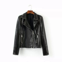 Wholesale Leather Jacket Women Punk Rock - Wholesale-2015 new ZA female punk rock notched lapel 3D spikes rivet PU leather motorcycle jacket jacket fashion street Free shipping