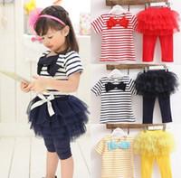Wholesale Red Stripes Lace Skirt - Children Princess Butterfly Striped Tops + Lace Gauze Skirts Pants Kids Girls Bowknot Stripe Tulle Pantskirt 2pcs Sets Child Outfit D2869