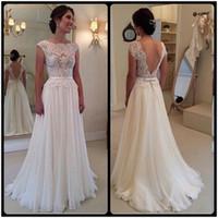 Wholesale Robe Casamento - 2016 New Vintage Wedding Dresses Vestido de Noiva Casamento Robe De Mariage Chiffon Backless Lace Bridal Gowns With Bow