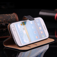 Wholesale S3 Luxury Genuine Leather Case - 5pcs Luxury Flip Wallet Skin Cover Genuine Leather Case for Samsung Galaxy S3 III i9300 Colorful Protective Cases Card Slot
