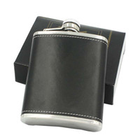 Wholesale leather wine flask - Leather Whiskey Flagon Leak Proof 6oz Stainless Steel Hip Flasks Outdoor Portable Wine Pot 7 35ls C R