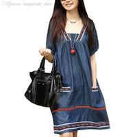 Wholesale Denim Dresses For Pregnant Women - Wholesale-Plus Size Denim Maternity Dress Clothes For Pregnant Women Dresses For Pregnancy Summer Clothing Fashion Gravida Ropa Maternal