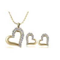 Wholesale Wedding Gift For Bride Gold - Fashion Heart Crystal Necklace Earrings Jewelry Sets For Women Best Gift Simple Personality Bride Jewelry Sets 1247-80