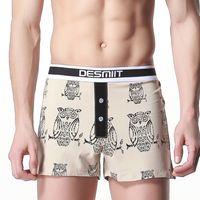 Wholesale Mens Underwear Patterns - Casual Brand Mens Underwear Boxers Cotton Hipster Boxer Shorts Owls Print Pattern Men Underwear Home Underpants Hot Sale 2 Color