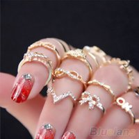 Wholesale Wholesale Mid Finger Rings - 1 Set 7 pcs Women's Rhinestone Bowknot Knuckle Midi Mid Finger Tip Stacking Rings EH086