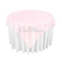 """Wholesale Pink Wedding Overlays - Light Pink Organza Table Overlay Cloth 72""""X72"""" Wedding Supply Party Sheer OCL"""