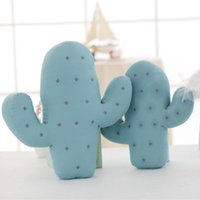 Wholesale kids flower pillow - Wholesale- 2 Size Lovely Cartoon Cactus Shape Cushion Pillow Kids Bed Room Decoration Calm Sleep Dolls Photo Props Toys Gift For Boy