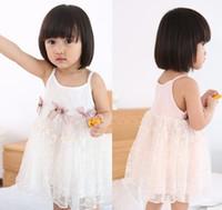 encaje de algodón de verano vestidos de gasa al por mayor-2015 del verano del bebé niñas gasa Bowknot vestidos de moda de encaje vestidos de niño pequeño sin mangas de algodón vestido sin mangas B3885