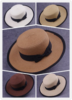 Wholesale Womens Straw Hat Wholesale - Beach Hat Womens Costume Beach Hat Fashion Womens Summer Pure Color and Lace Costume Hot Womens Sweet Straw and Comfortable UV Hat