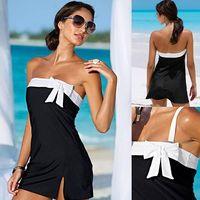 plaj seksi tek parça elbise toptan satış-Tek Parça Mayo Seksi Kapak-Ups Tatil Plaj Elbise Kadınlar Mayo Bownot Elbise