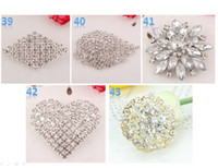 Wholesale Brooch Swarovski - Best Brooch Sparkly Silver Clear Rhinestone buckle Crystal Diamante Flower Pins swarovski elements Wedding Cake Pin Brooches wholesales