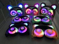 iphone blinzeln großhandel-Faltbarer Bär Ohr, der Kopfhörer auflädt Panda-Ohr-Spiele-Kopfhörer mit LED-Licht blinkendes Cosplay bearcat Ea Stereokabel-Kopfhörer für Telefon PC
