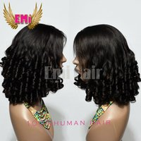 Wholesale Cheap Hair Spirals - Lace Front Full Lace Human Hair Wigs Natural Bottom Curl Spiral In Stock Unprocessed Cheap Grade 7A Brazilian Virgin Human Hair Wigs